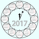 Simple Calendar 2017 circles clock time year. Vector illustration Week starts with Monday Stock Photography