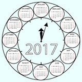Simple Calendar 2017 circles clock time year. Vector illustration Week starts with Sunday Stock Photos