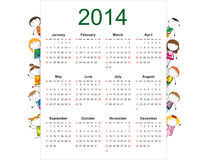 Simple 2014 calendar. Simple and colorful calendar on 2014 year with happy kids royalty free illustration