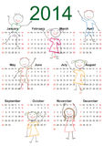 Simple 2014 calendar. Simple and colorful calendar on 2014 year with happy kids stock illustration