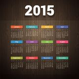 Simple 2015 calendar on Dark Wooden Background Stock Photography