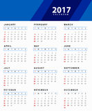 Simple 2017 Calendar. Simple design of calendar 2017 Royalty Free Stock Image