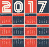Simple 2017 calendar design. With color rectangles Royalty Free Stock Images