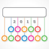 Simple 2015 Calendar design with colorful hanging gears Royalty Free Stock Photography