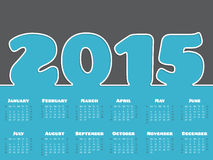 Simple 2015 calendar design. In gray and blue with white line Royalty Free Stock Photo
