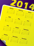 Simple 2014 calendar design with vivid colors. And peeled corner vector illustration
