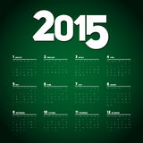 Simple 2015 Calendar design, week starts with sunday Royalty Free Stock Photography