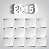 Simple 2015 Calendar design, week starts with sunday,  Stock Photos