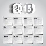 Simple 2015 Calendar design, week starts with sunday,. Papercut Stock Photos