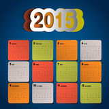 Simple 2015 Calendar design, week starts with sunday,. Papercut Royalty Free Stock Image
