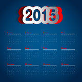 Simple 2015 Calendar design, week starts with sunday,. Papercut Stock Photography