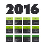 Simple Calendar Design for Year 2016 Stock Image
