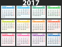 Simple calendar 2017. Each month in a separate nice color, vector easy to edit Royalty Free Stock Images