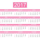 2017 simple calendar eanglish Royalty Free Stock Photography