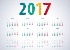Simple calendar 2017. European 2017 vector calendar. Week starts from monday. Polygon number 2017 Stock Illustration