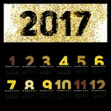 Simple 2017 Calendar with gold color,  brush lines, 2017 calenda Stock Photos