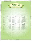 Simple 2014 Calendar. In green color stock illustration