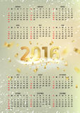 Simple calendar 2016. Happy new year calendar over gray background with golden sparks. Simple calendar 2016. Abstract calendar for 2016. Week starts from sunday Royalty Free Stock Image