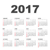Simple calendar 2017. In horizontal style. Flat vector illustration on white background stock illustration