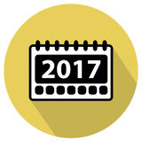 Simple 2017 Calendar icon. First page of 2017 Calendar. Flat design simple vector icon Royalty Free Stock Images
