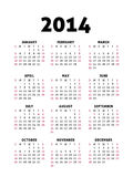 Simple 2014 Calendar Stock Photography