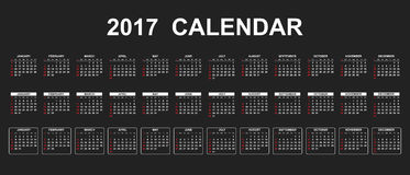 Simple calendar 2017. In line style. Flat vector illustration on black background vector illustration