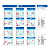 Simple calendar 2017 marked with the official holidays for the USA. The week starts on sunday. Royalty Free Stock Image