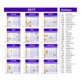Simple calendar 2017 marked with the official holidays for the USA. The week starts on sunday. Stock Photography