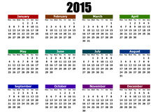 Simple calendar 2015 Royalty Free Stock Photos