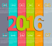 Simple 2016 Calendar. Months, made in the paper style with shadows, vector illustration Royalty Free Stock Images