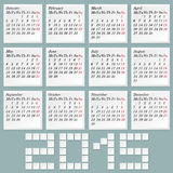 Simple 2015 Calendar Royalty Free Stock Images