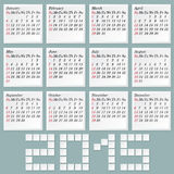 Simple 2015 Calendar Royalty Free Stock Photo