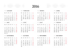 Simple Calendar for 2016. 12 Months. Week Starts Monday. Vector Illustration Royalty Free Stock Photo