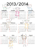 Simple calendar on new school year 2013 and 2014 Royalty Free Stock Photography