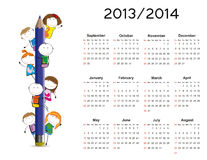 Simple calendar on new school year 2013 and 2014. With happy kids royalty free illustration