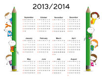 Simple calendar on new school year 2013 and 2014. With happy kids stock illustration