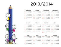 Simple calendar on new school year 2013 and 2014. With happy kids vector illustration