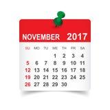 Simple calendar 2017. November 2017. Calendar vector illustration Royalty Free Stock Photography