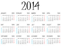 Simple calendar 2014 Stock Photography