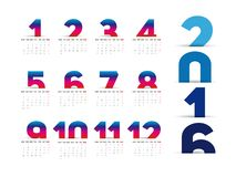 Simple 2016 Calendar. 2016 calendar paper design, week starts with Sunday vector illustration