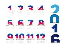 Simple 2016 Calendar Stock Photos