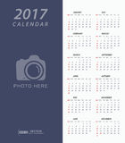 Simple 2017 Calendar with place for photo or copy-space Stock Images