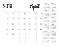 Simple calendar planner for 2018 year.  Royalty Free Stock Images