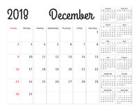 Simple calendar planner for 2018 year.   Stock Images