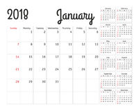 Simple calendar planner for 2018 year Royalty Free Stock Photo