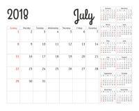 Simple calendar planner for 2018 year. Stock Photos
