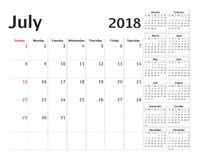 Simple calendar planner for 2018 year Royalty Free Stock Image