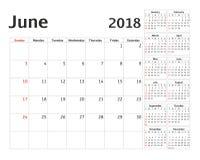 Simple calendar planner for 2018 year. Calendar planning week. Vector design June template. Set of 12 Months. week starts Sunday stock illustration