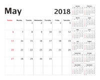 Simple calendar planner for 2018 year. Royalty Free Stock Photography
