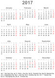 Simple calendar 2017 with public holidays for the USA. Simple calendar 2017 - one year at a glance - starts Monday with public holidays for the USA in a portrait Stock Image